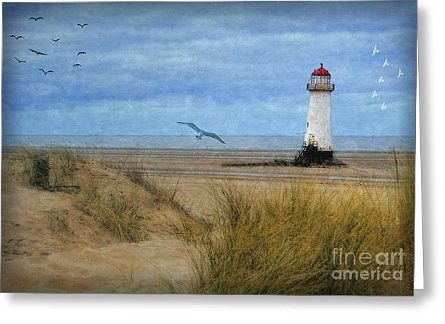 Greeting Card featuring the digital art Talacre Lighthouse - Wales by Lianne Schneider