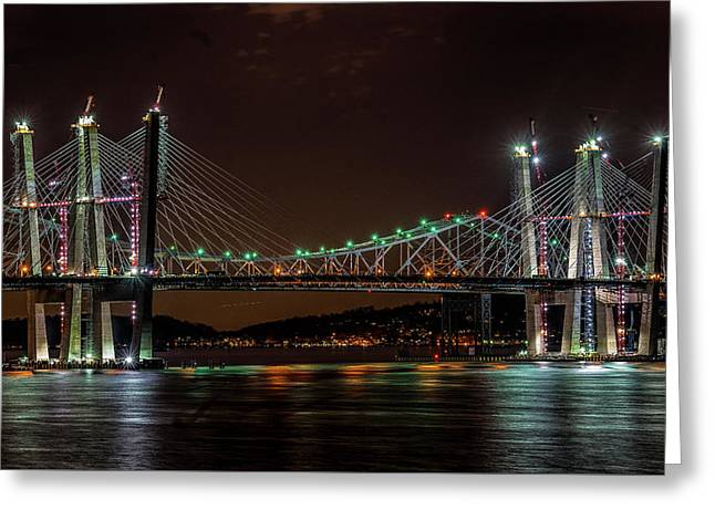 Tale Of 2 Bridges At Night Greeting Card