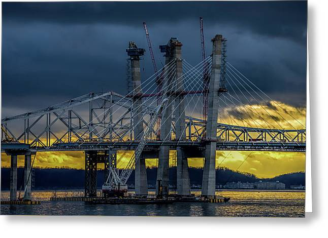 Tale Of 2 Bridges At Sunset Greeting Card by Jeffrey Friedkin
