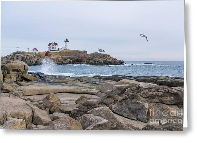 Tale Of Two Lighthouse Greeting Card by Patrick Fennell