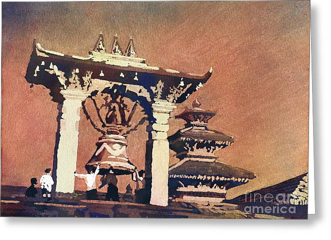 Greeting Card featuring the painting Taleju Bell- Patan, Nepal by Ryan Fox