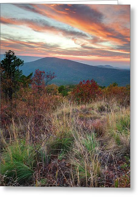 Greeting Card featuring the photograph Talimena Fire In The Skies - Arkansas - Oklahoma by Gregory Ballos
