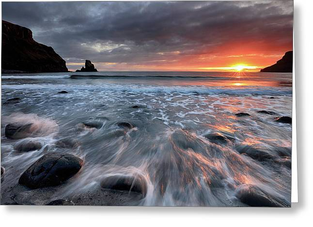 Greeting Card featuring the photograph Talisker Bay Rocky Sunset by Grant Glendinning