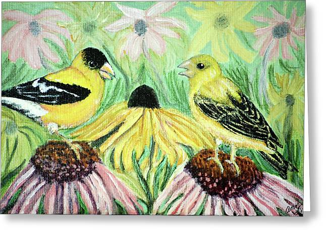 Talking Finches Greeting Card by Ann Ingham