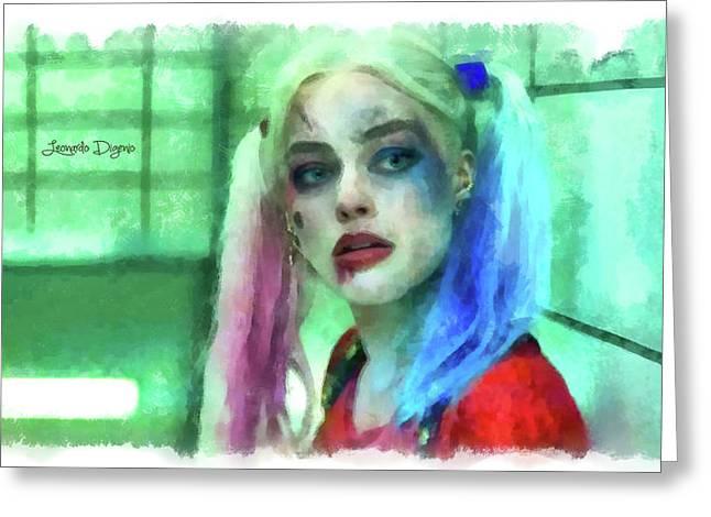 Talking To Harley Quinn - Aquarell Style Greeting Card by Leonardo Digenio