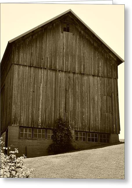 Tall Barn On Hillside Greeting Card