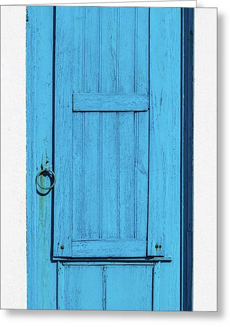 Tall Blue Door Greeting Card