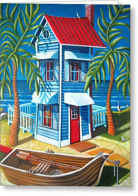 Tall Blue House Greeting Card