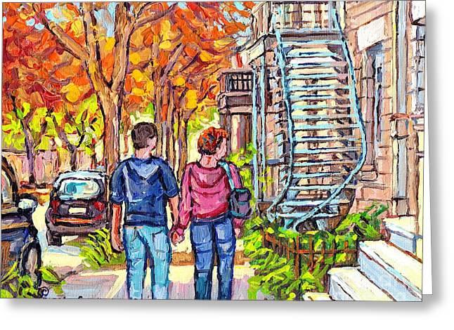 Tall Blue Winding Staircase Autumn Street Painting Couple Strolls Verdun Montreal Art Carole Spandau Greeting Card by Carole Spandau