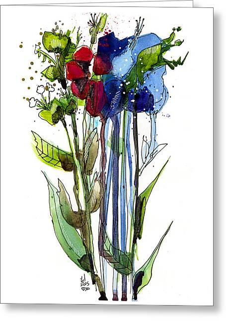 Tall Bouquet Greeting Card by Tonya Doughty