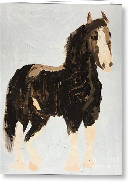 Greeting Card featuring the painting Tall Horse by Donald J Ryker III