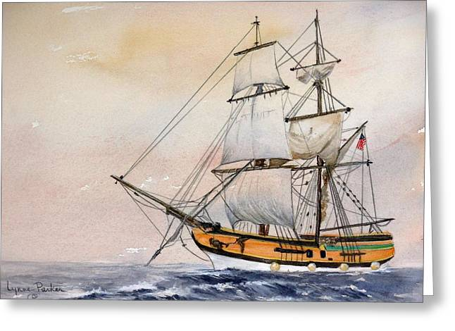 Tall Masted Ship Greeting Card by Lynne Parker