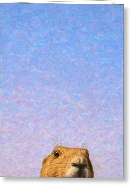Dogs Paintings Greeting Cards - Tall Prairie Dog Greeting Card by James W Johnson