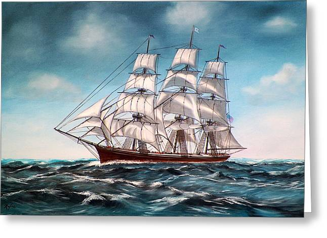 Tall Ship At Sea, After Cooper Greeting Card by RB McGrath