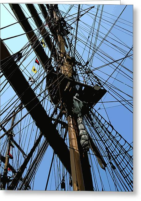 Tall Ship Design By John Foster Dyess Greeting Card