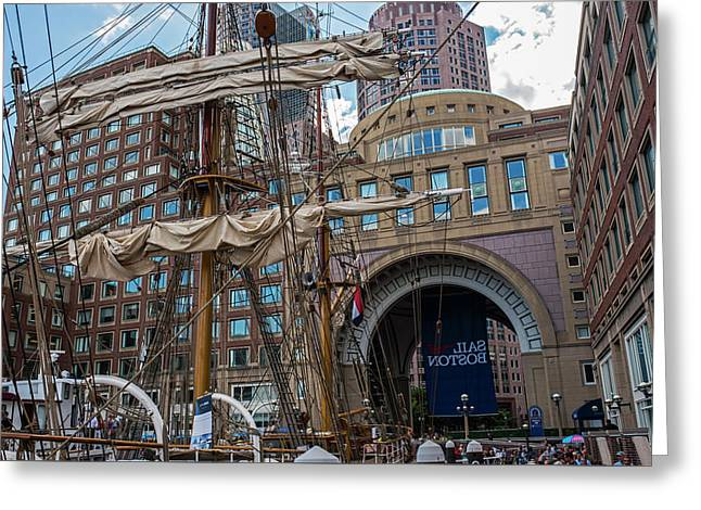 Tall Ship Docked In Boston Harbor 2017 Boston Ma Greeting Card