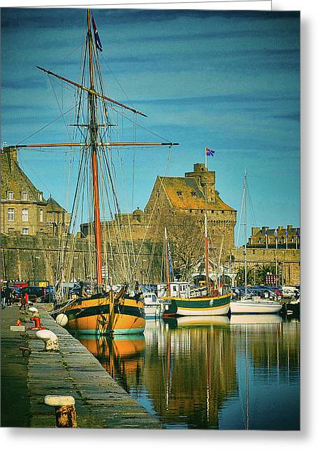 Tall Ship In Saint Malo Greeting Card
