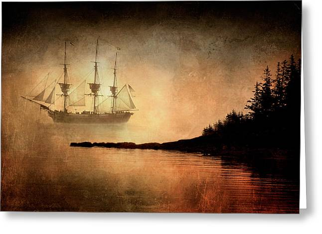 Tall Ship In The Fog Greeting Card by Fred LeBlanc