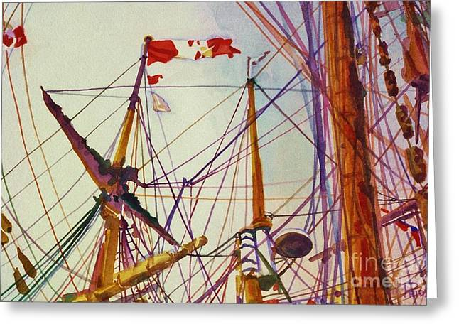Tall Ship Lines Greeting Card