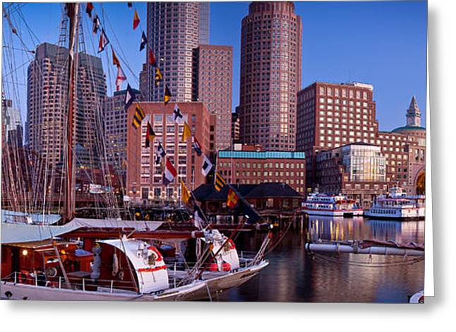 Tall Ship Panorama Greeting Card by Susan Cole Kelly
