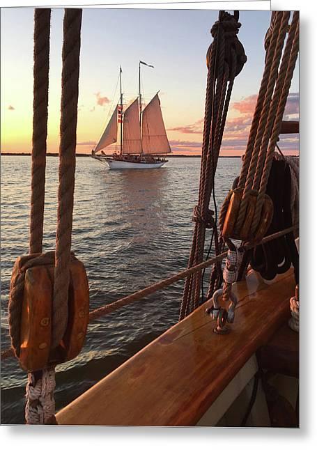 Tall Ship Sunset Sail Greeting Card