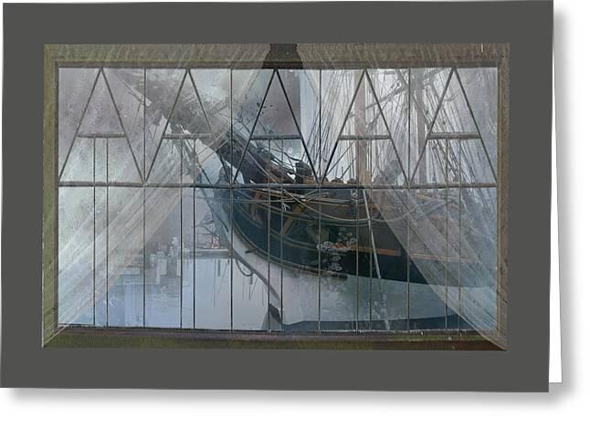 Tall Ship Through A Window Greeting Card