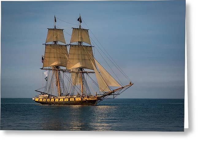 Tall Ship U.s. Brig Niagara Greeting Card by Dale Kincaid