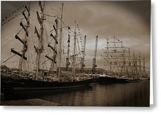 Tall Ships 2010 Sepia Greeting Card
