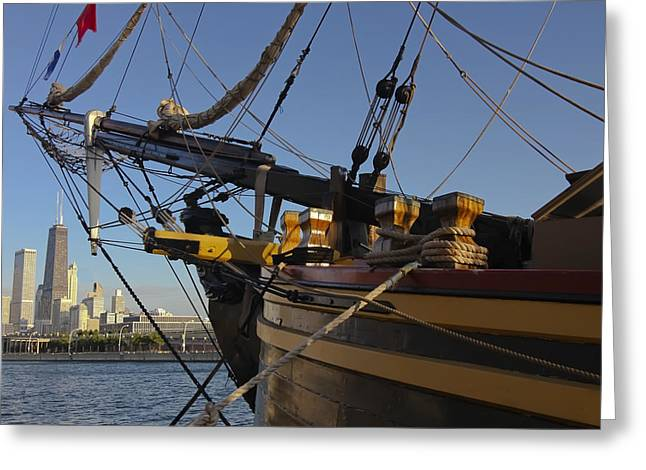 Tall Ships Greeting Cards - Tall ships and skyline Greeting Card by Sven Brogren