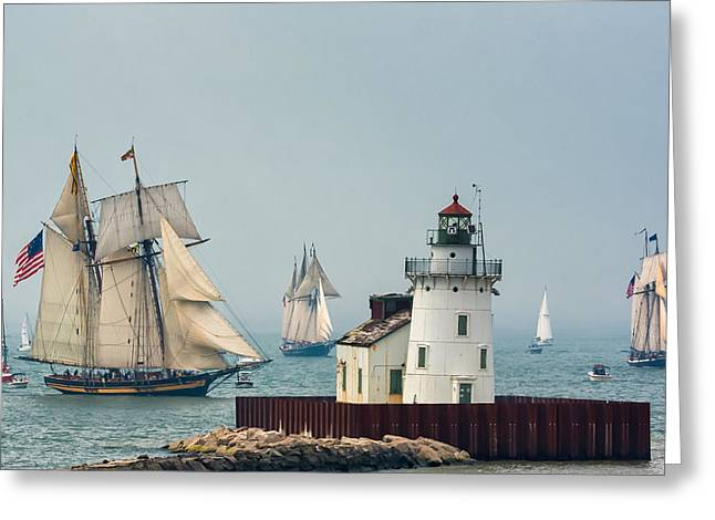 Tall Ships At Cleveland Lighthouse Greeting Card