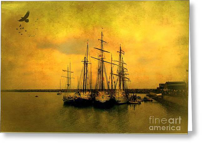 Tall Ships Of Dana Point Greeting Card by Kevin Moore