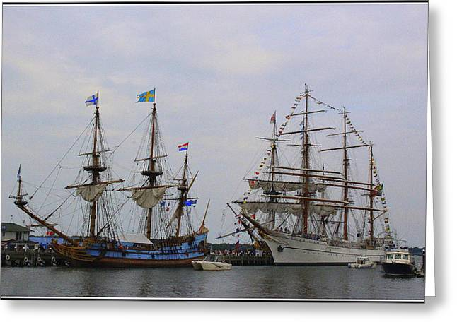 Historic Tall Ships Hermione And Sagres Greeting Card