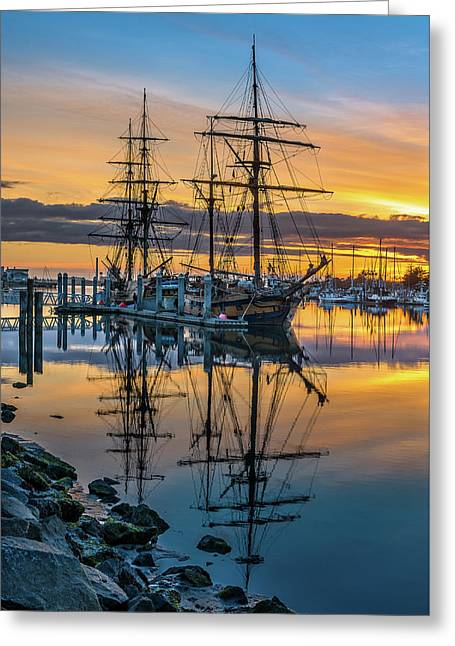 Tall Ships Sunset 2 Greeting Card by Greg Nyquist