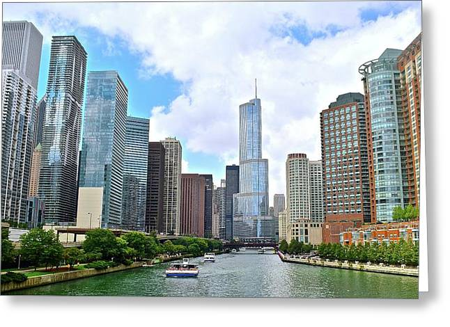 Tall Towers In Chicago Greeting Card by Frozen in Time Fine Art Photography