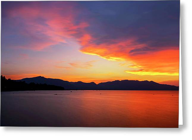 Greeting Card featuring the photograph Tallac On Fire by Brad Scott