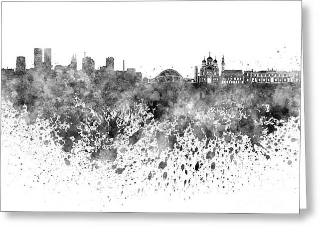 Tallinn Skyline In Black Watercolor On White Background Greeting Card