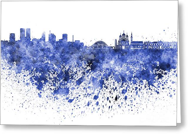 Tallinn Skyline In Blue Watercolor On White Background Greeting Card