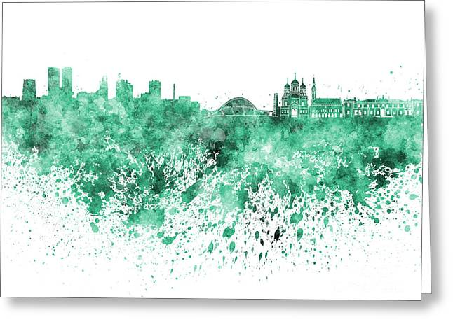 Tallinn Skyline In Green Watercolor On White Background Greeting Card by Pablo Romero
