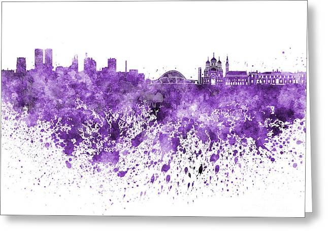 Tallinn Skyline In Purple Watercolor On White Background Greeting Card by Pablo Romero