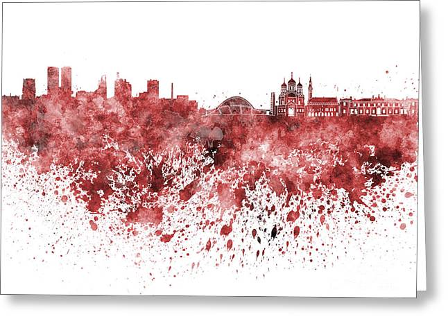 Tallinn Skyline In Red Watercolor On White Background Greeting Card