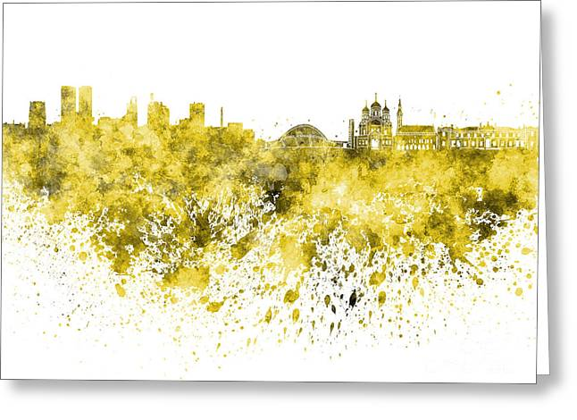 Tallinn Skyline In Yellow Watercolor On White Background Greeting Card