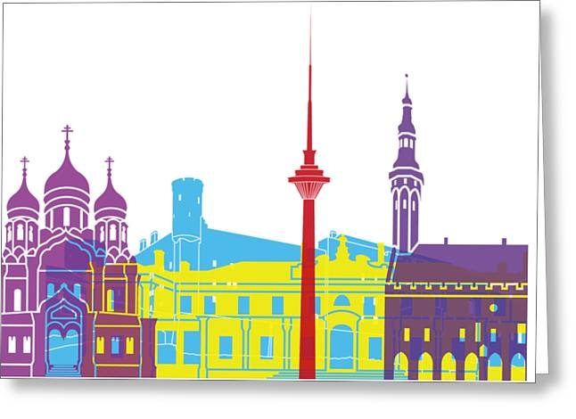 Tallinn Skyline Pop Greeting Card by Pablo Romero