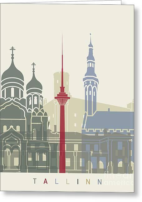 Tallinn Skyline Poster Greeting Card