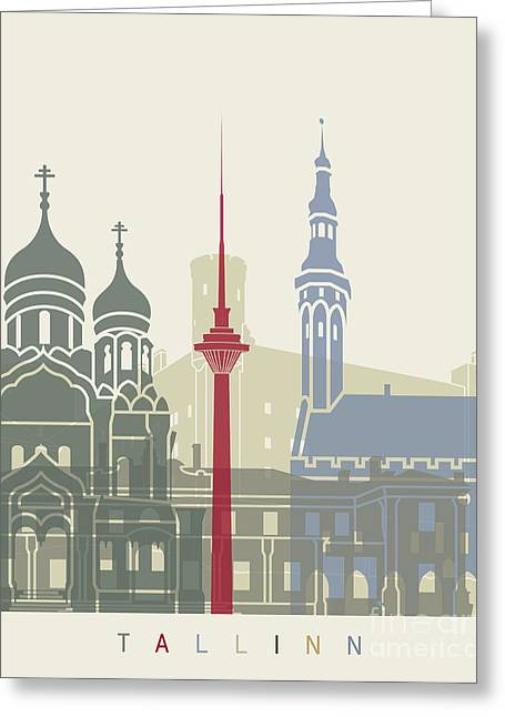 Tallinn Skyline Poster Greeting Card by Pablo Romero