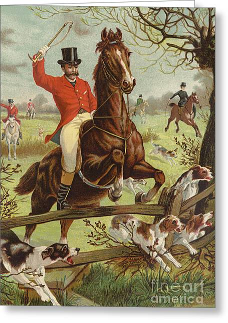 Tally Ho Greeting Card by English School