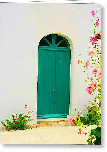 Talmont Green Door Greeting Card by Alex Antoine