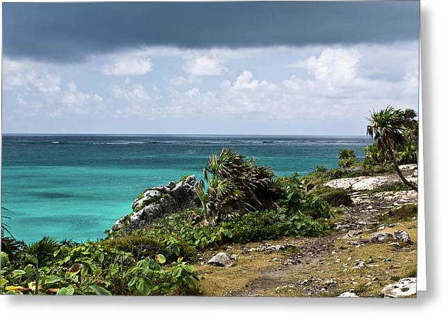 Yearning Greeting Cards - Talum Ruins Mexico Ocean View Greeting Card by Douglas Barnett