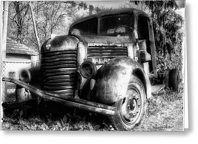 Marko Mitic Greeting Cards - TAM Truck Black and White Greeting Card by Marko Mitic
