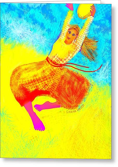Tambourine Joy 1 Greeting Card by Chana Helen Rosenberg