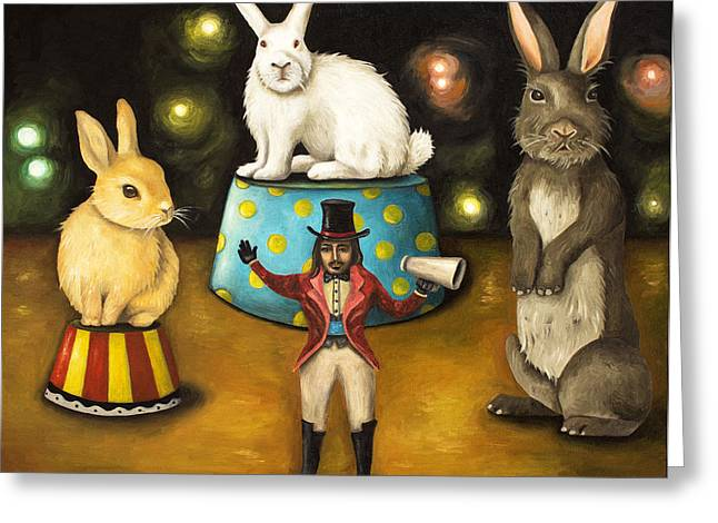Tricks Greeting Cards - Taming Of The Giant Bunnies Greeting Card by Leah Saulnier The Painting Maniac